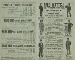 Advert for Fred Watts & Co, gentleman's outfitters, reverse side